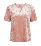New Look pink crushed velvet tshirt