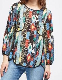 Everything 5 Pounds retro print chiffon top