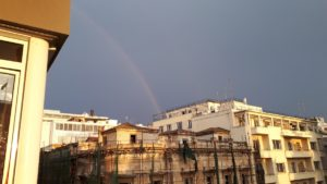 Rainbow from balcony at Metropolis Hotel Athens