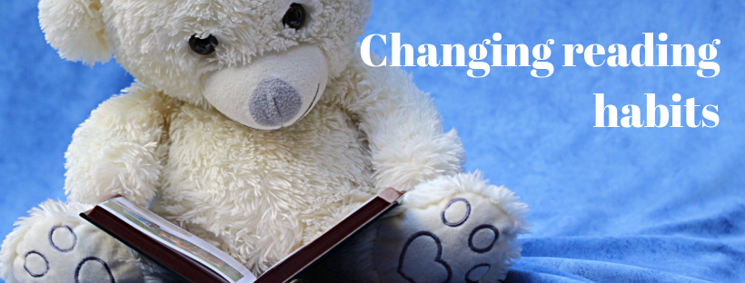 Changing reading habits - teddy bear reading a book